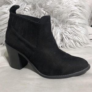 Faux suede western black ankle booties size 8.5
